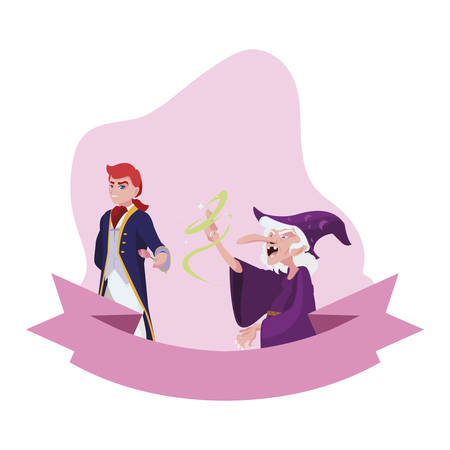 prince charming and witch of tales character vector illustration design Illusztráció