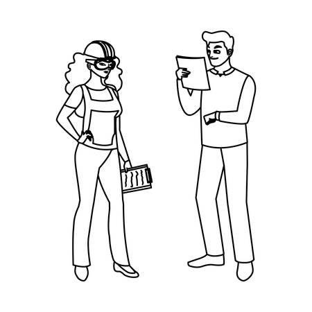 couple of builders constructors workers characters vector illustration design Ilustração