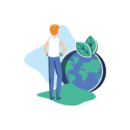 Man avatar and planet design, Sustainability eco friendly green recycle ecology renewable and solution theme Vector illustration