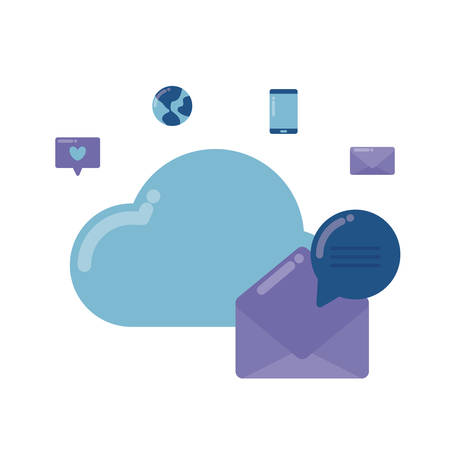 social media marketing with cloud computing vector illustration design