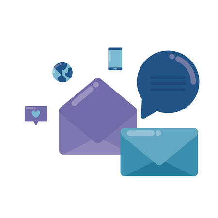 social media marketing with envelopes mail vector illustration design