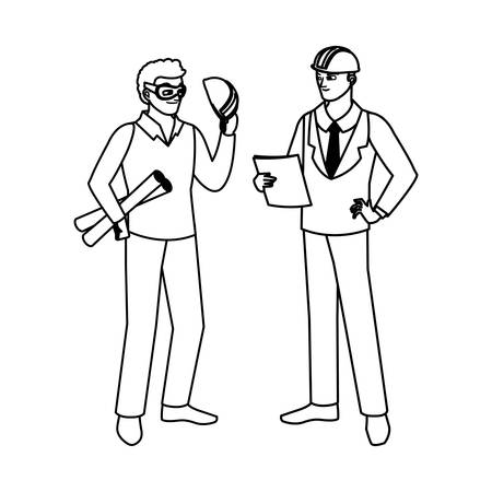 architect builder with engineer characters vector illustration design Imagens - 134049387