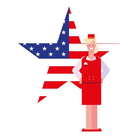 happy labor day - stewardess american flag shape star vector illustration Archivio Fotografico - 134049447