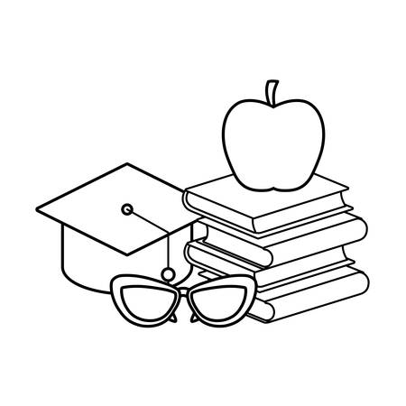 pile of textbooks with hat graduation and icon vector illustration design