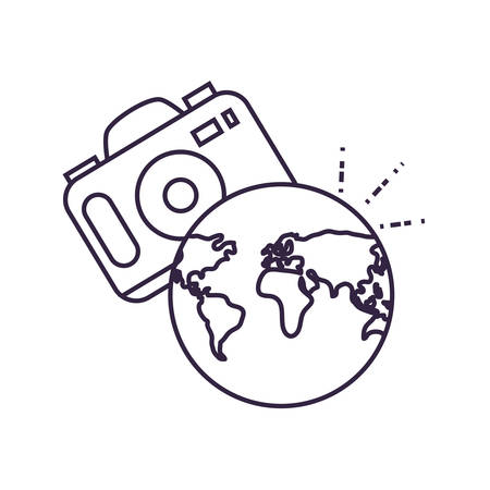 world planet earth maps with camera photographic vector illustration design 版權商用圖片 - 134050478