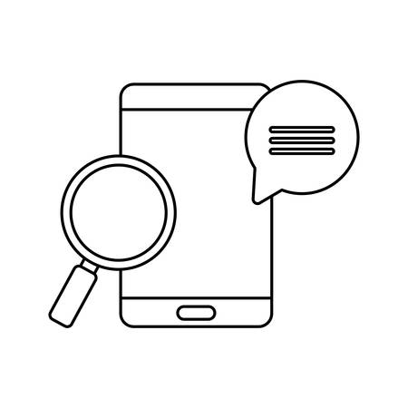 smartphone with magnifying glass and speech bubble vector illustration design Illusztráció