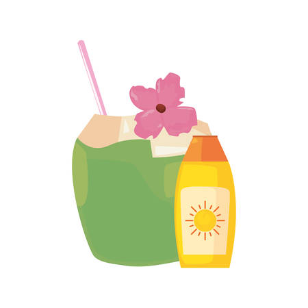 summer time holiday sunblock and cocktail vector illustration 일러스트