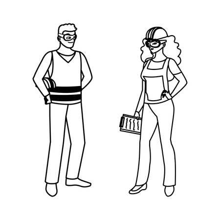 couple of builders constructors workers characters vector illustration design Imagens - 134050581