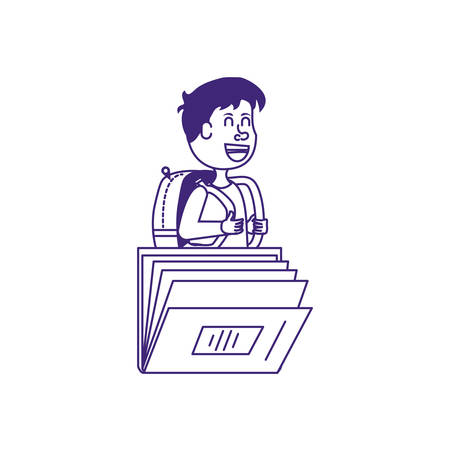 cute little student boy with book closed vector illustration design Stock Illustratie