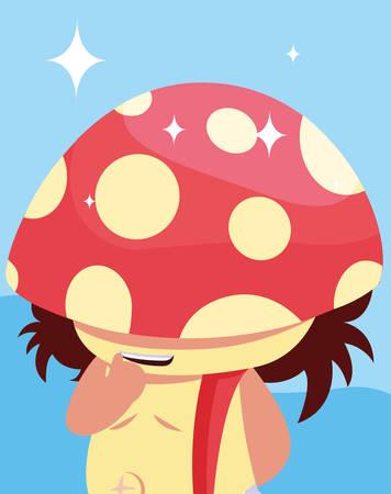 little fungus fairytale avatar character vector illustration design