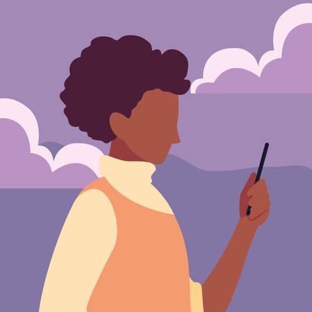 young man using smartphone social media vector illustration Illusztráció