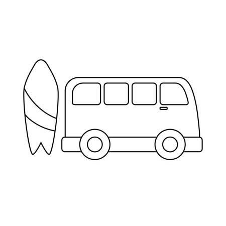 surfboard equipment with van vehicle vector illustration design