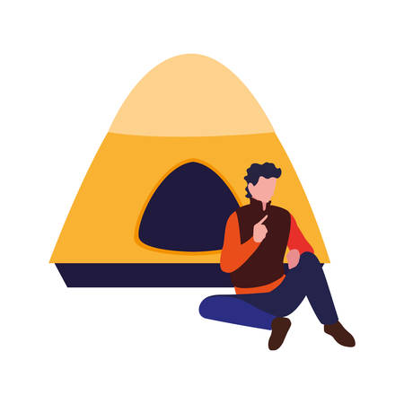 man with tent camping hiking vector illustration