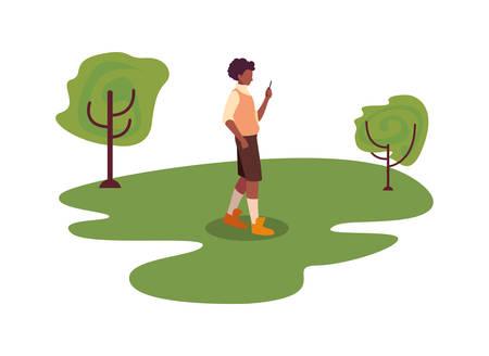 young man using smartphone outdoor trees natural vector illustration Illusztráció
