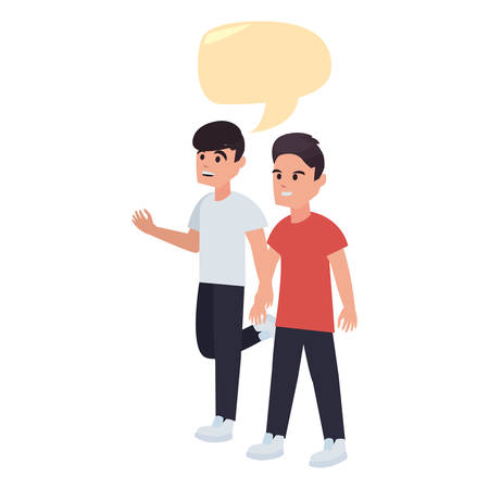 happy boys talk bubble back to school flat design vector illustration