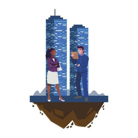 male builder constructor with afro woman engineer and building vector illustration Imagens - 134050772