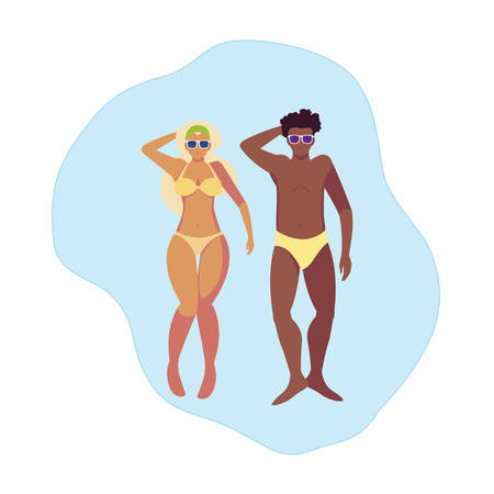 interracial couple with swimsuit floating in water vector illustration design