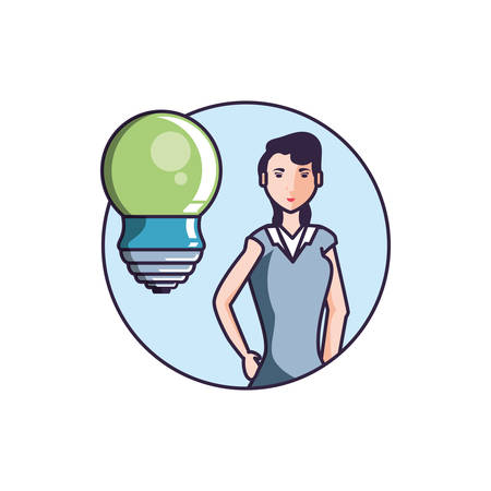 saving bulb electric with young woman vector illustration design
