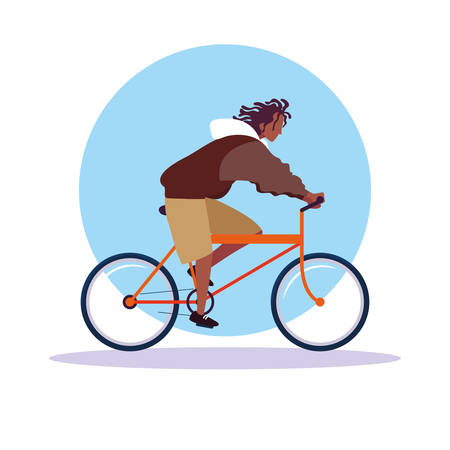 young man afro riding bike avatar character vector illustration design
