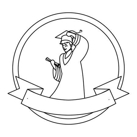 happy student boy graduated celebrating in circular frame vector illustration