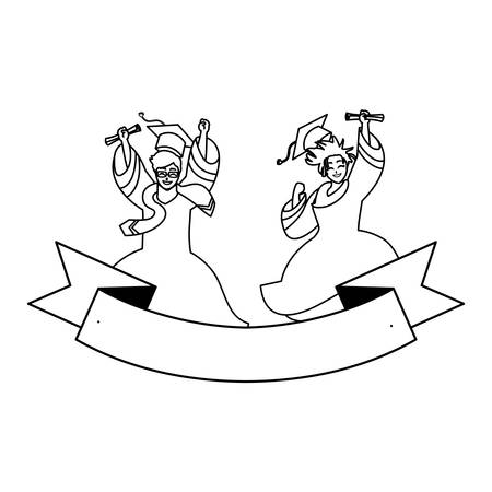 young couple students graduated celebrating with ribbon vector illustration design Stock Illustratie