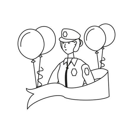female police officer with balloons helium labor day celebration vector illustration design