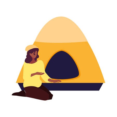 woman with tent camping hiking vector illustration 일러스트