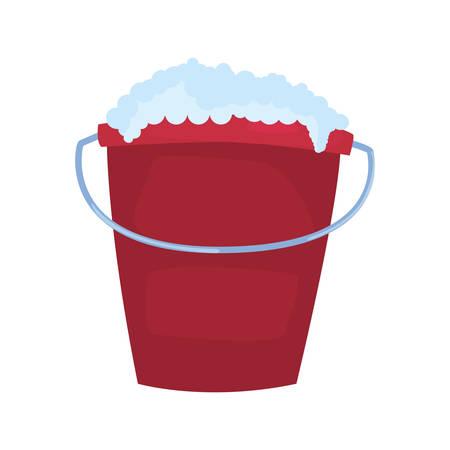 Fourniture de nettoyage de bulles de seau sur fond blanc vector illustration