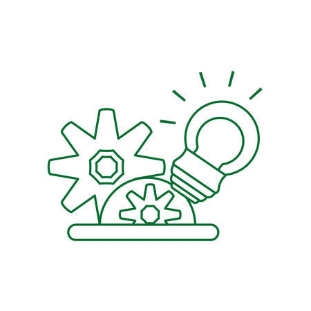 saving bulb electric with gears pinions vector illustration design Иллюстрация