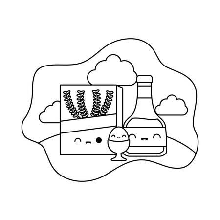bottle of honey with set food in landscape style vector illustration design
