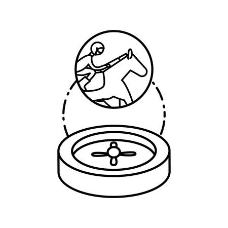 casino roulette game with horse racecourse vector illustration design Foto de archivo - 134059949