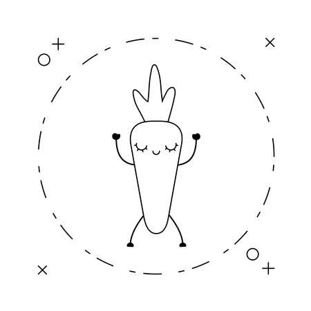 fresh carrot vegetable  in frame circular vector illustration design