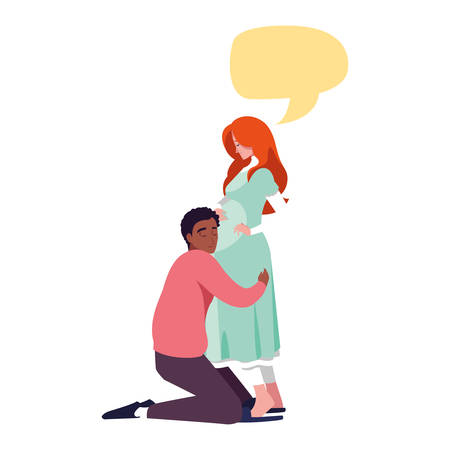 man hugs a pregnant woman talk bubble - pregnancy and maternity vector illustration