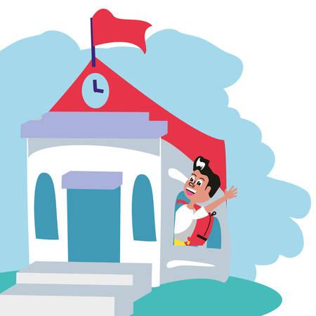 cute little student boy with bag education in school building vector illustration design Illusztráció