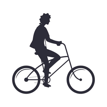 man silhouette riding bicycle activity image white background vector illustration