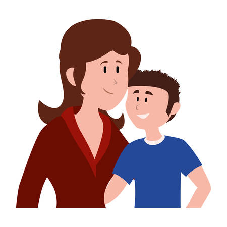 mother with her son smiling avatar character vector illustration design Zdjęcie Seryjne - 133825663
