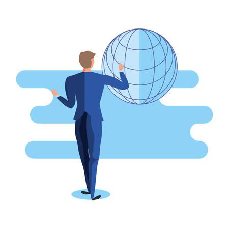 business man elegant with sphere browser vector illustration design