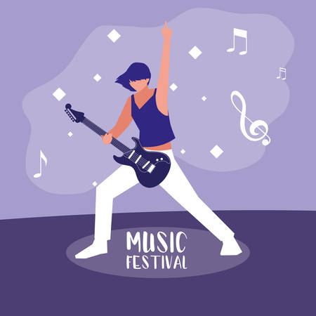 music festival poster with woman playing electric guitar vector illustration design