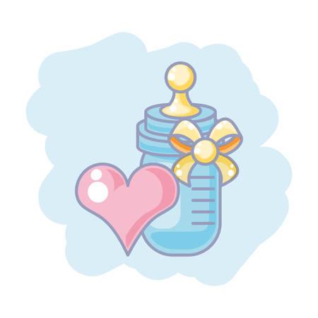 cute bottle milk baby with heart love vector illustration design