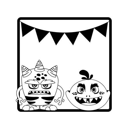 monochrome frame with monsters and garlands hanging vector illustration design
