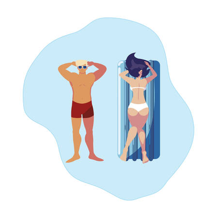 young couple with float mattress in water vector illustration design