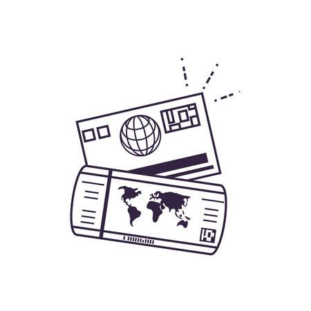 ticket flight document with credit card vector illustration design