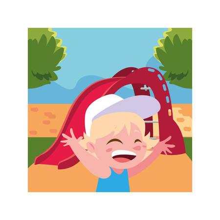 boy smiling and enjoying on slide vector illustration design