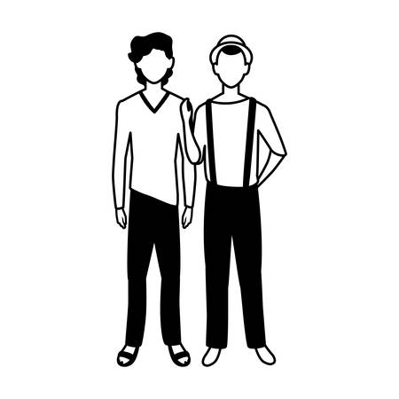 men standing faceless with different poses on white background vector illustration design