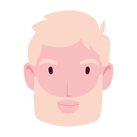 head of man smiling on white background vector illustration design
