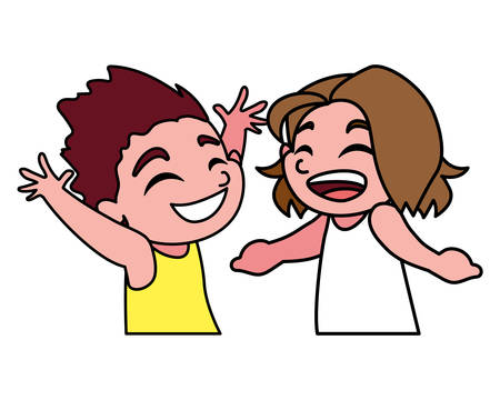 boys smiling on white background vector illustration design Illustration