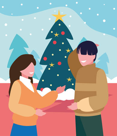 scene of couple with christmas tree vector illustration design