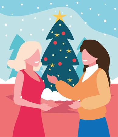 scene of women with christmas tree vector illustration design