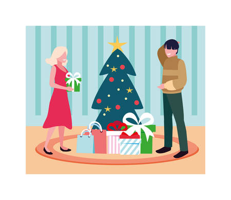 scene of couple with christmas tree and gift vector illustration design