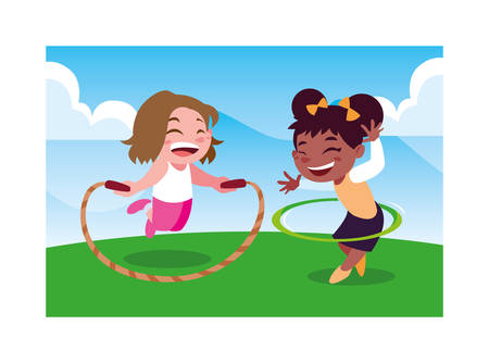 girls smiling and playing with skipping rope vector illustration design Reklamní fotografie - 134151515